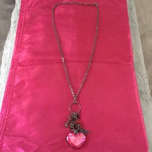 Crystal Pink Heart💖 Charm Necklace